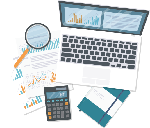 Create an investment plan visual –computer, calculator, charts